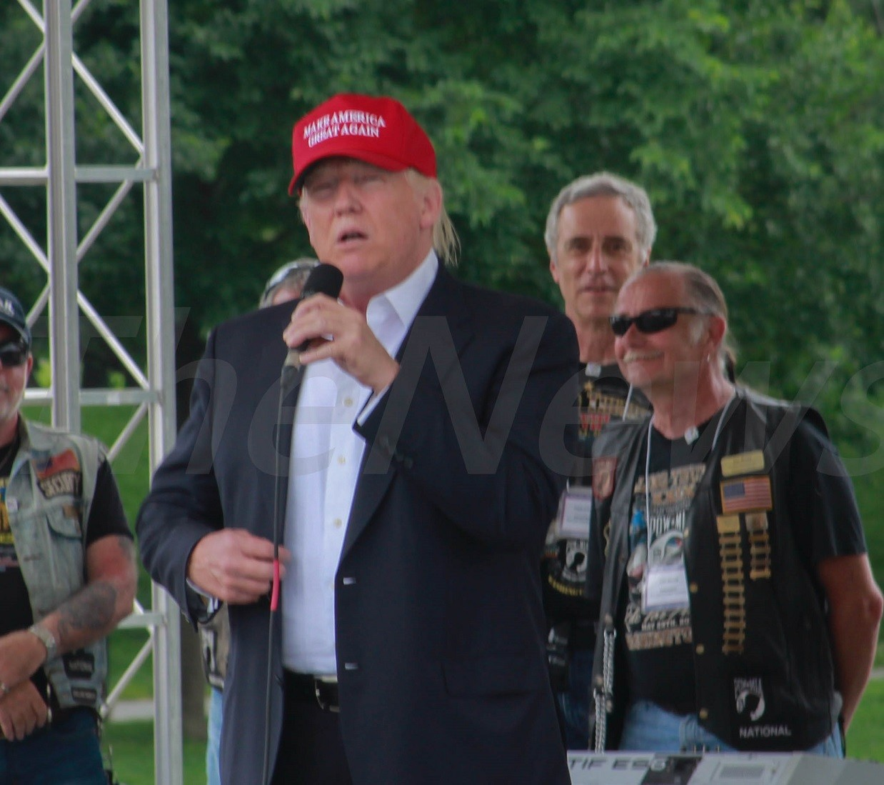 Donald Trump speaks to Rolling Thunder Motorcycle Riders at Memorial Day