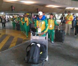 South African Soccer Team arrives in Sao Paulo-Rio 2016 Olympics with presence of south African Ambassador Malose Mogale-08-08-2016.Photos Niyi Fote